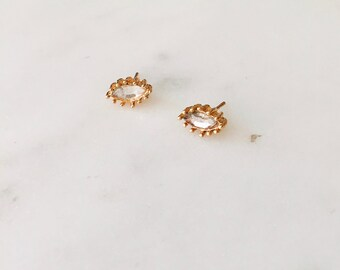 1990's Dead Stock Vintage Clear Crystal Marquise Stud Earrings