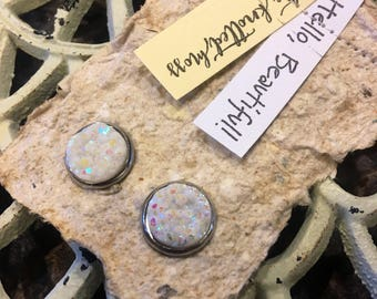 Hypoallergenic Faux Druzy Cabochon Earrings   Hello, Beautiful Earrings:  White Sparkle Faux Druzy and Stainless Steel