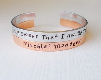 Fandom Hand Stamped Cuff Bracelet YOU Choose Your Fandom I Solemnly Swear That I Am Up To No Good Mischief Managed - Harry Potter