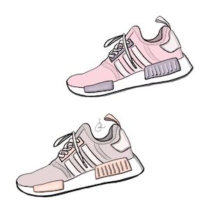 Digital illustration, digital drawing, fashion illustration, shoes, sneakers,  adidas, nmd