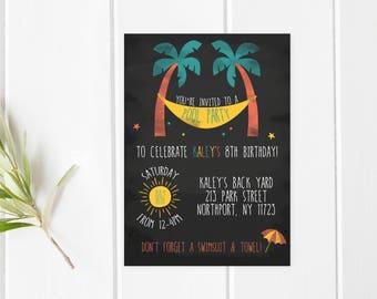 Pool Party Invitation, Birthday Party Invitation, Summer Birthday Party Invitation, Summer Party Invitation, Chalkboard Birthday Invitation