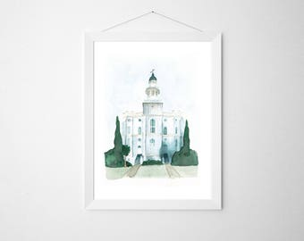 St. George, UT LDS Temple, Original Watercolor | First Christmas Gift | LDS Christmas Gift