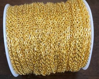 300 ft of Gold plated  flat cable chain 2X3mm unsoldered, gold chain