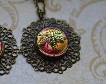 Rainbow Dragonfly Pendant Necklace