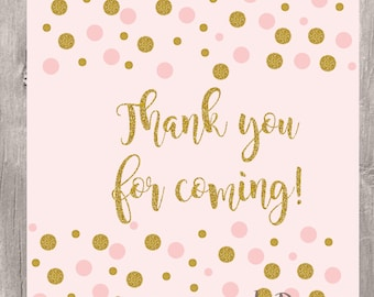 Confetti Pink and Gold Favor Tags, Instant Download, Blush and Glitter Gold Thank You Tags, Printable Blush and Gold Cupcake Toppers