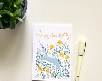 Birthday card, birthday card with watercolour illustration, unicorn birthday card, illustrated birthday card, カード, イラスト