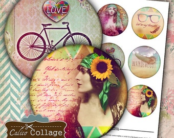 2.5 Inch Circles, Boho Chic, Digital, Collage Sheet, Pocket Mirror Images, Large Circle Tags, Digital Tags, Printable Circles, Circle Images