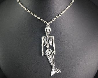 Mermaid Skeleton Necklace, Pirates of the Caribbean Jewelry, Disney Bound, Disney World, Disneyland, Jack Sparrow, Disney Jewelry