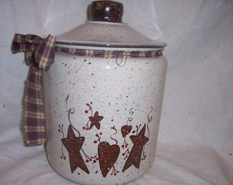 Primitive hearts and stars cookie jar PERSONALIZED FREE!!!