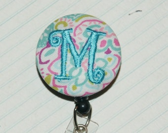 Many fabrics to design YOUR Badge Reel. Monogrammed single letter, #152