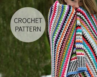 Crochet Blanket Pattern - Scrappy Happy V-stitch Blanket - US, UK and Swedish terms - PDF file
