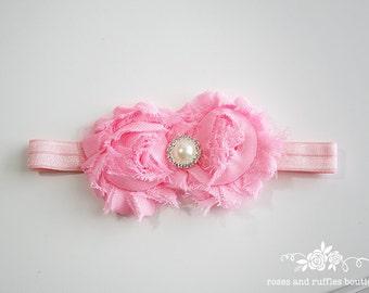 PICK COLOR Pink Baby Headband, Baby Girl Headband, Newborn Headband, Flower Headband, Baby Photo Prop, Infant Headband, Flower Girl Headband