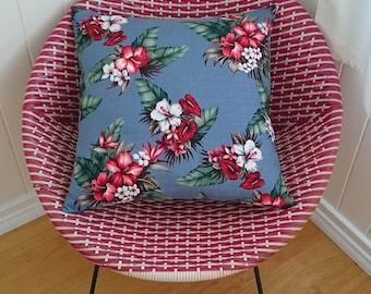 Blue tropical barkcloth cushion cover