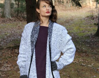Vintage 80s Sideffects Black White NUBBY Retro Open Sweater Jacket Cardigan S M