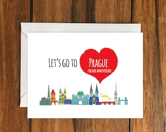 Let's Go To Prague For Our Anniversary Blank greeting card, Holiday Card, Gift Idea A6