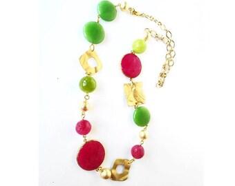 Collana pietre dure, collana agata, collana dorata donna, collana lunga, collana catena, gioielli zama, collana colorata, collana verde, oro
