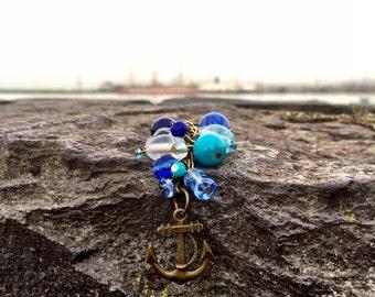 Bohiemian keycahin, Beach Gypsy, Mermaid Accessories, Anchor Charm, Handmade Jewelry, Glass Beads Key Chain, Blue Anchor Key Chain, Women Ac