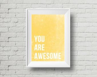 Sunshine Print, Yellow Wall Art, Yellow Bedroom Print, Yellow Poster, Yellow Nursery Art, You Are Awesome Poster, Printable Yellow Wall Art
