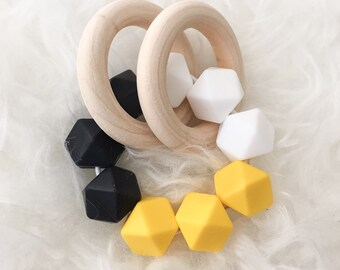 Wooden Baby Toy Wooden Teething Toy Colorblock Double Ring Teether Silicone Bead Teether Sensory Toy Baby Waldorf Toy Teether Infant Teether