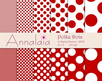 INSTANT DOWNLOAD Digital Paper Pack Dark Red and White Polka Dots Scrapbook Paper 12x12 8,5x11 Commercial Use 138