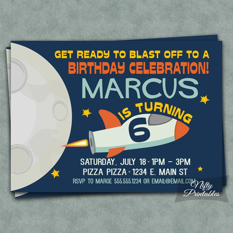 Outer Space Birthday Invitations Printable 6th Birthday