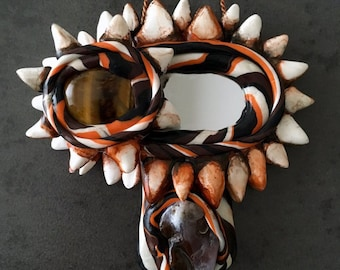 Mini Vagina Dentata Mirror Fruitbowl with Tiger's Eye and Fire Agate | Made in Melbourne | Australian Seller