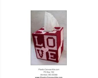 Love Tissue Topper-Plastic Canvas Pattern-PDF Digital File-Valentine's Day