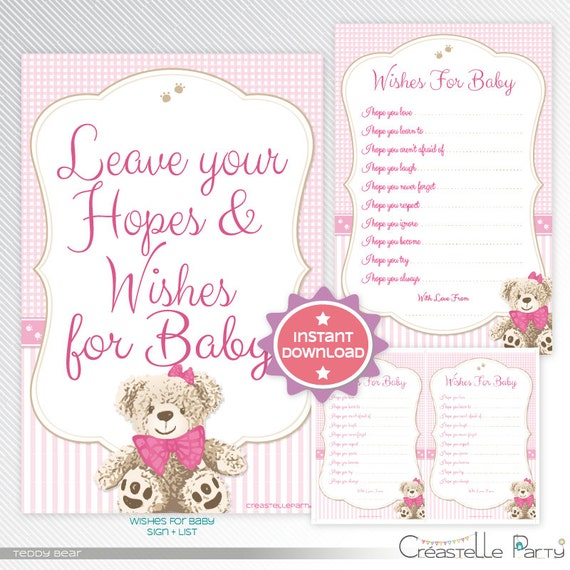 Pink Teddy Bear Baby Shower: Pink Teddy Bear Wishes For The Baby Baby Shower Game