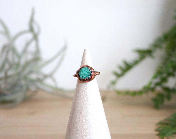 Copper and Aqua Druzy Midi Ring