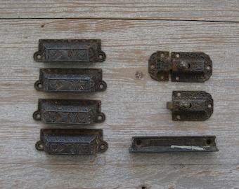 Antique hardware, bin pulls, drawer pull, Eastlake, set of 4 matching, cabinet latch, cast iron, Victorian, Art Deco, salvage, farmhouse
