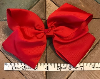 """8"""" Giant XL Hair Bow with Aligator Clip-Free Monogram or Initial"""