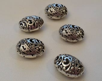 silver metal beads filigree (set of 8)