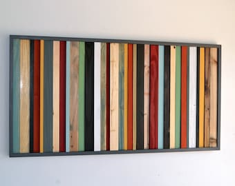 Wood Wall Art - Wood Art - Reclaimed Wood Wall Art - Stripes 24X48