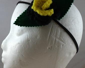Crocheted Rose Headband - Black and Yellow (SWG-HH-HEBM01)