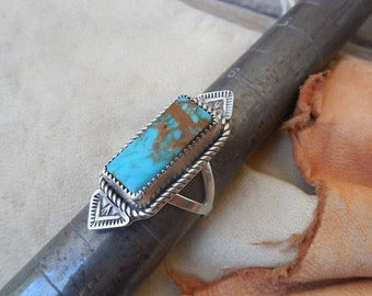 ON SALE Turquoise ring handmade in sterling silver 925 with Turquoise Mountain turquoise
