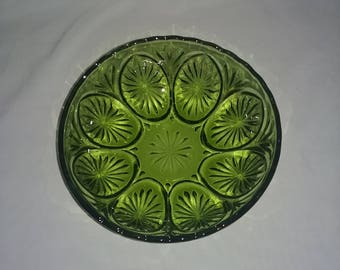 Vintage green clear glass serving bowl.