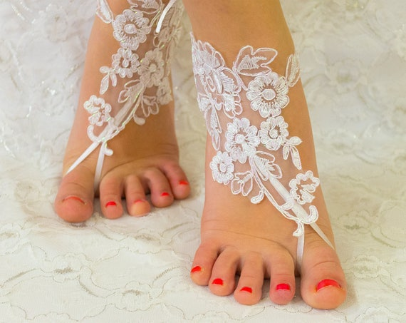 Lace shoes, Bridal sandals, France Lace Anklet, Lace Wedding Shoes, Beach Wedding Barefoot Sandals, Beach Shoes, Beach Sandals 06