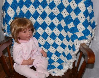 Blue and White Woven Strips Baby Blanket