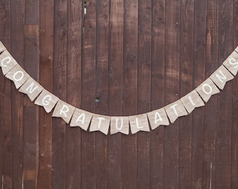 CONGRATULATIONS Bunting - Vintage Handmade Decoration Burlap / Hessian Bunting