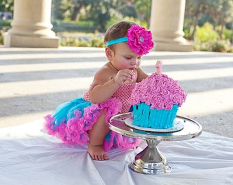 Hot Pink and Turquoise Flower Headband, Girls Headband, Baby Headband, Smash Cake Headband, Birthday Headband, Photo Prop