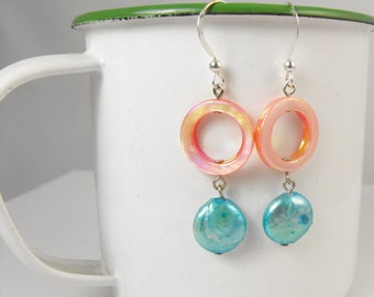 SALE! Colorful Pastel Spring Earrings Peach and Turquoise Shell and Pearl Earring Handmade Jewelry. Easter. Mother's Day. Gift for Her.