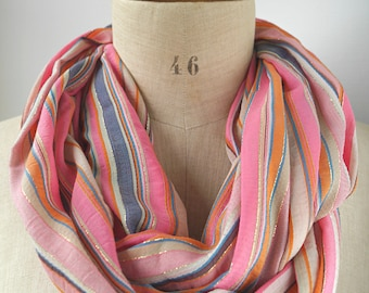pink cotton infinity, pink striped scarf, pink loop scarf, cotton scarf, cotton round scarf, gift mother, cotton cowl, pink cowl, gift