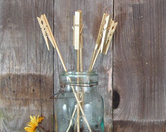Table Number Holder, Clothes Pin on a Stick™, set of 5, pick color, use for place cards, menu, photos or notes