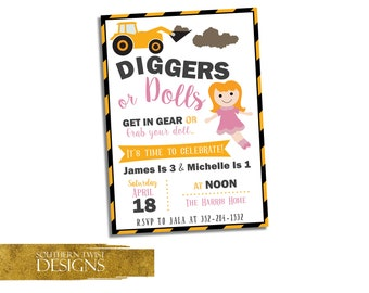 Construction & Doll Birthday Invitation - Sibling Birthday Invite - Construction and Tea Party Invite - Diggers or Dolls - Boy and Girl