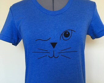 Cat Shirt-Cat T Shirt-Cat Face-Winking Cat Face-Cat Lover Shirt-Womens T Shirt-Cat Lady