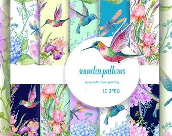 seamless pattern,floral pattern,digital paper,scrapbooking,floral background,flowers,birds hummingbirds