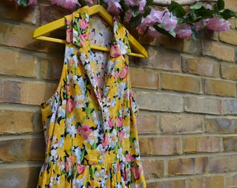Vintage Sleeveless Short Yellow Floral Dress 50's/60's Style