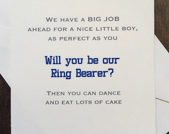 Ring Bearer Card Invite - Will you be my Ring Bearer? Funny & Cute