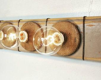 Bathroom Vanity Light Fixture - Reclaimed Wood Custom (4) Bulb, Burlap Wrapped Sockets for Bathroom, Flush Wall Mount, Handmade, Cedar