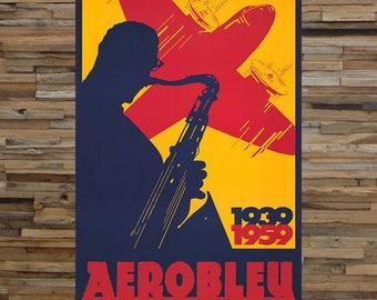 Aerobleu Spirit of the Cool 1939 1959, Vintage Jazz Ad, Vintage Airplane Ad,  Giclee Art Print, fine Art Reproduction
